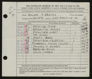 Entry card for Grauer, William C. for the 1951 May Show.
