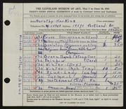 Entry card for Harkins, Dorothy Sabrina Wright, and Gibbons, Arthur for the 1951 May Show.