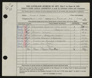 Entry card for Hassa, Hilda k. for the 1951 May Show.