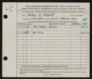 Entry card for Hewitt, Mabel H. for the 1951 May Show.