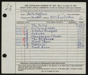 Entry card for Hoffman, Belle Mildred for the 1951 May Show.