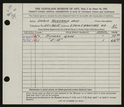 Entry card for Rossbach, Doris for the 1951 May Show.