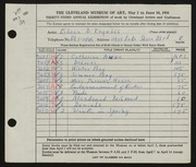 Entry card for Ingalls, Eileen B. for the 1951 May Show.