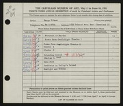 Entry card for Ittner, Harry for the 1951 May Show.