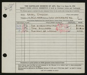 Entry card for Janicki, Hazel for the 1951 May Show.
