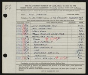 Entry card for Andres, Avis J. for the 1951 May Show.