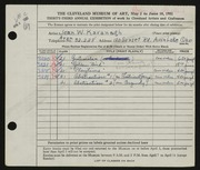 Entry card for Kavanagh, Jean for the 1951 May Show.