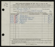 Entry card for Kenyon, Martha E. for the 1951 May Show.