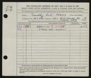 Entry card for Kersey, Dorothy Prill for the 1951 May Show.