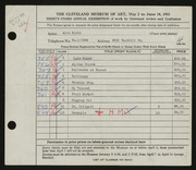 Entry card for Klein, Alex for the 1951 May Show.