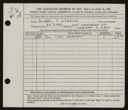 Entry card for Kobasuk, Michael Peter for the 1951 May Show.
