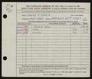 Entry card for Kohler, Joseph P. for the 1951 May Show.