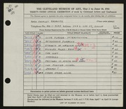 Entry card for Kravitz, Shirley for the 1951 May Show.