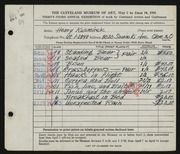 Entry card for Kusmirek, Henry for the 1951 May Show.