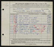 Entry card for Land, Jerome for the 1951 May Show.