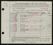 Entry card for Landesman, Geoffrey for the 1951 May Show.