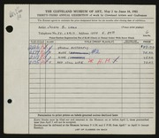 Entry card for Leach, Joseph B. for the 1951 May Show.