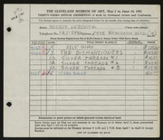 Entry card for Lebovitz, Morris for the 1951 May Show.