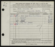 Entry card for Lev, Irene for the 1951 May Show.