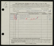 Entry card for Lipstreu, Kenneth J. for the 1951 May Show.
