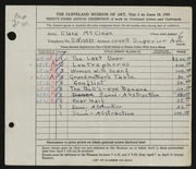 Entry card for McClean, Clara for the 1951 May Show.