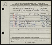 Entry card for McFadyen, Elizabeth C. for the 1951 May Show.