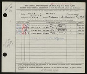 Entry card for McVey, Leza for the 1951 May Show.
