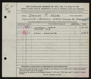 Entry card for Maier, Douglas P. for the 1951 May Show.