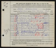 Entry card for Manning, Wray for the 1951 May Show.