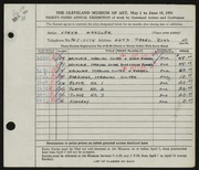 Entry card for Manzler, Lorna for the 1951 May Show.