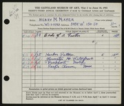 Entry card for Mayer, Henry M. for the 1951 May Show