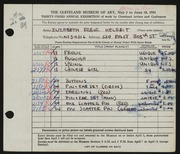 Entry card for Melreit, Elizabeth Erbor for the 1951 May Show.