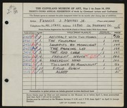 Entry card for Meyers, Francis J. for the 1951 May Show.