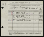 Entry card for Mieczkowski, Ed for the 1951 May Show.