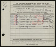 Entry card for Miller, Frederick Anson for the 1951 May Show.