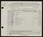 Entry card for Miller, Leon Gordon for the 1951 May Show.