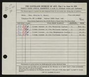 Entry card for Monti, Minnie S. for the 1951 May Show.