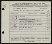 Entry card for Moore, Janet Gaylord for the 1951 May Show.