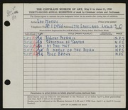 Entry card for Moore, Lou for the 1951 May Show.