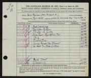 Entry card for Morrison, Doris C. for the 1951 May Show.
