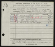 Entry card for Moyer, Robert M. for the 1951 May Show.