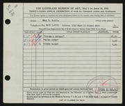 Entry card for Norris, Mary R. for the 1951 May Show.