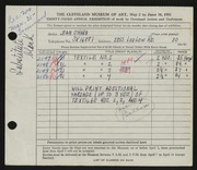 Entry card for O'Hara, Jean for the 1951 May Show.