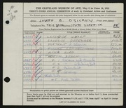Entry card for O'Sickey, Joseph B. for the 1951 May Show.