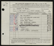 Entry card for Pearl, Moses P. for the 1951 May Show.