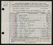 Entry card for Peck, Edith Hogen for the 1951 May Show.