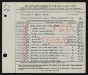 Entry card for Peck, Miriam Smith for the 1951 May Show.