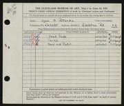 Entry card for Peterka, Joyce S. for the 1951 May Show.