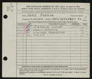 Entry card for Rebman, Herbert for the 1951 May Show.