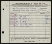Entry card for Cass, Caroline Pickands for the 1951 May Show.